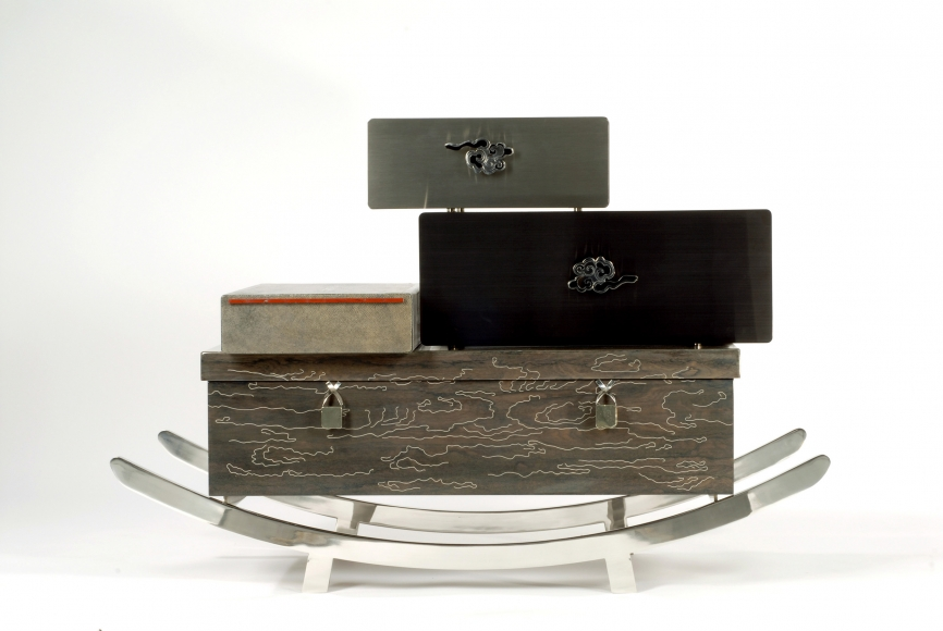 Maria Pergay, Coolie, 2007 Stainless Steel, Lacquered Ziricote Wood with Aluminum Inlay, Shagreen, Agate, Ematithe
