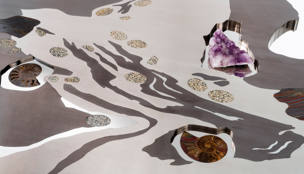 Maria Pergay, Detail of Table Galet, 2016, Stainless steel, precious stones, Plexiglas base